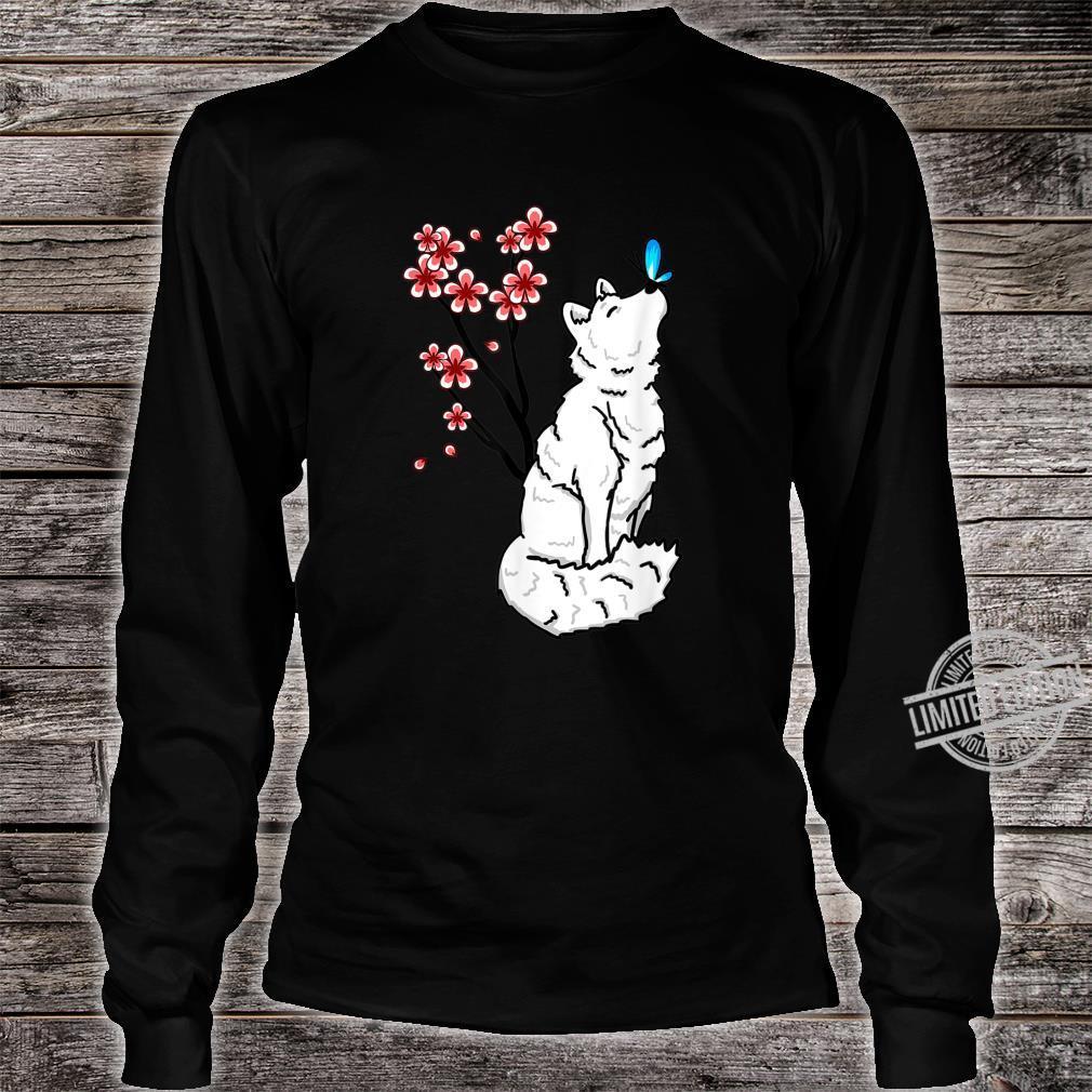 Arctic Fox Sakura Butterfly Cute Animal Animal Shirt long sleeved