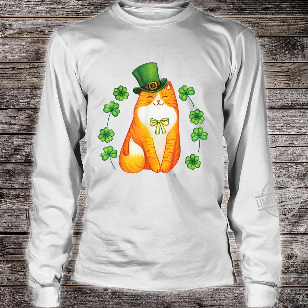 Cute Cat Saint Patrick Day Shirt Happy St Orange Kitten Day Shirt long sleeved