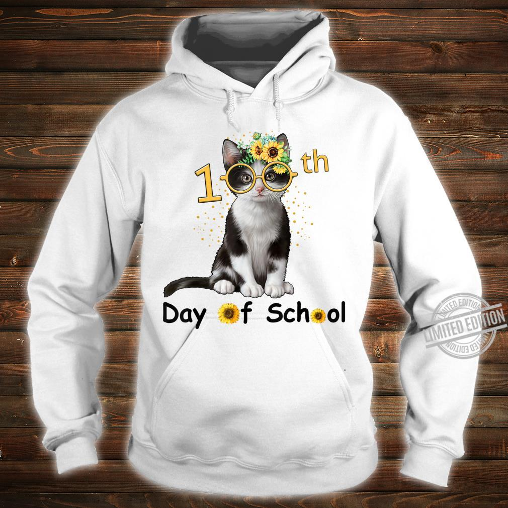 Cute Cat With Sunflower Happy 100th Day Of School Shirt hoodie