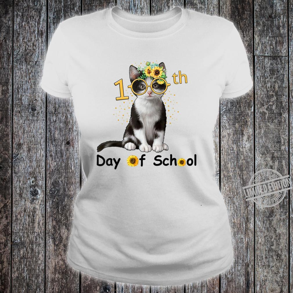 Cute Cat With Sunflower Happy 100th Day Of School Shirt ladies tee