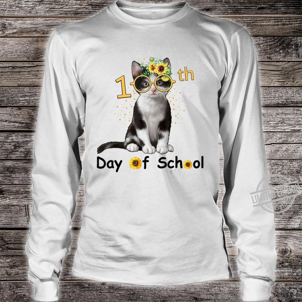 Cute Cat With Sunflower Happy 100th Day Of School Shirt long sleeved