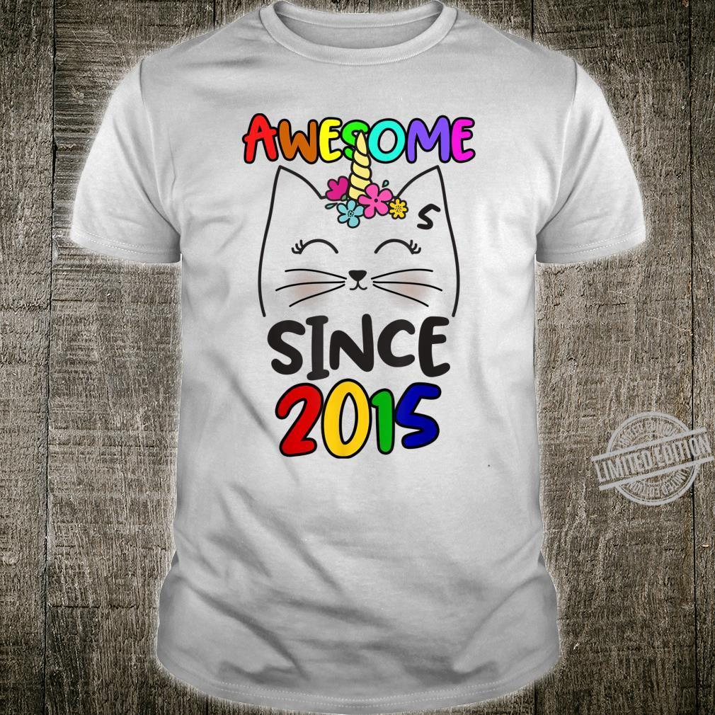 Cute Caticorn 5 Years Old Birthday Unicorn Cat Party Girl Shirt