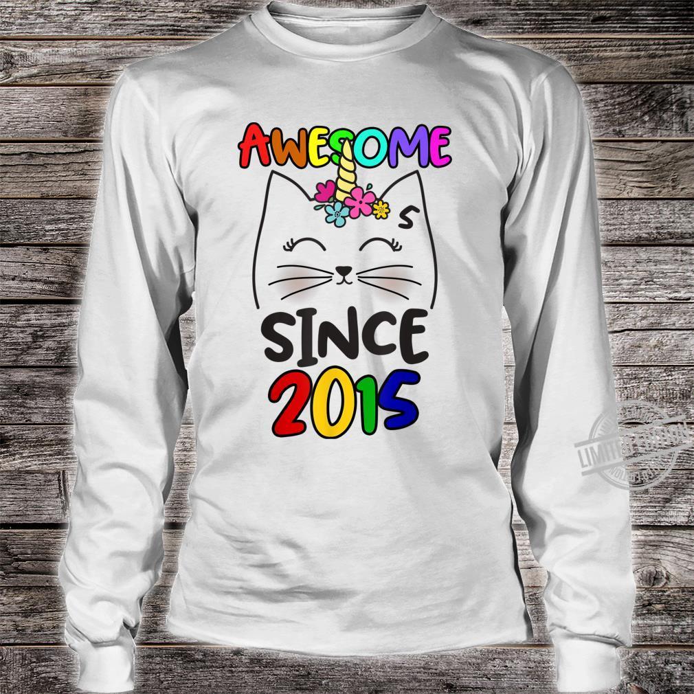 Cute Caticorn 5 Years Old Birthday Unicorn Cat Party Girl Shirt long sleeved