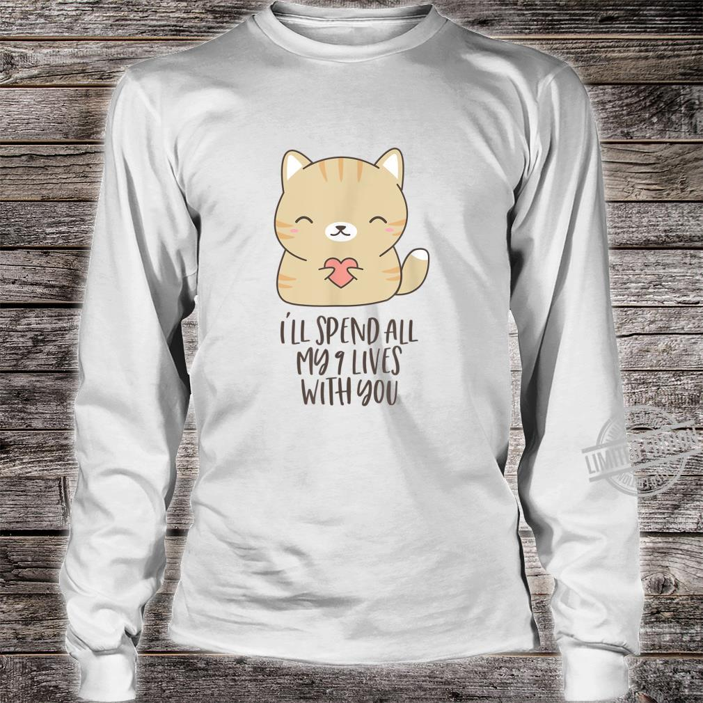 Cute Kitty In Love Holding Heart for Cats Shirt long sleeved
