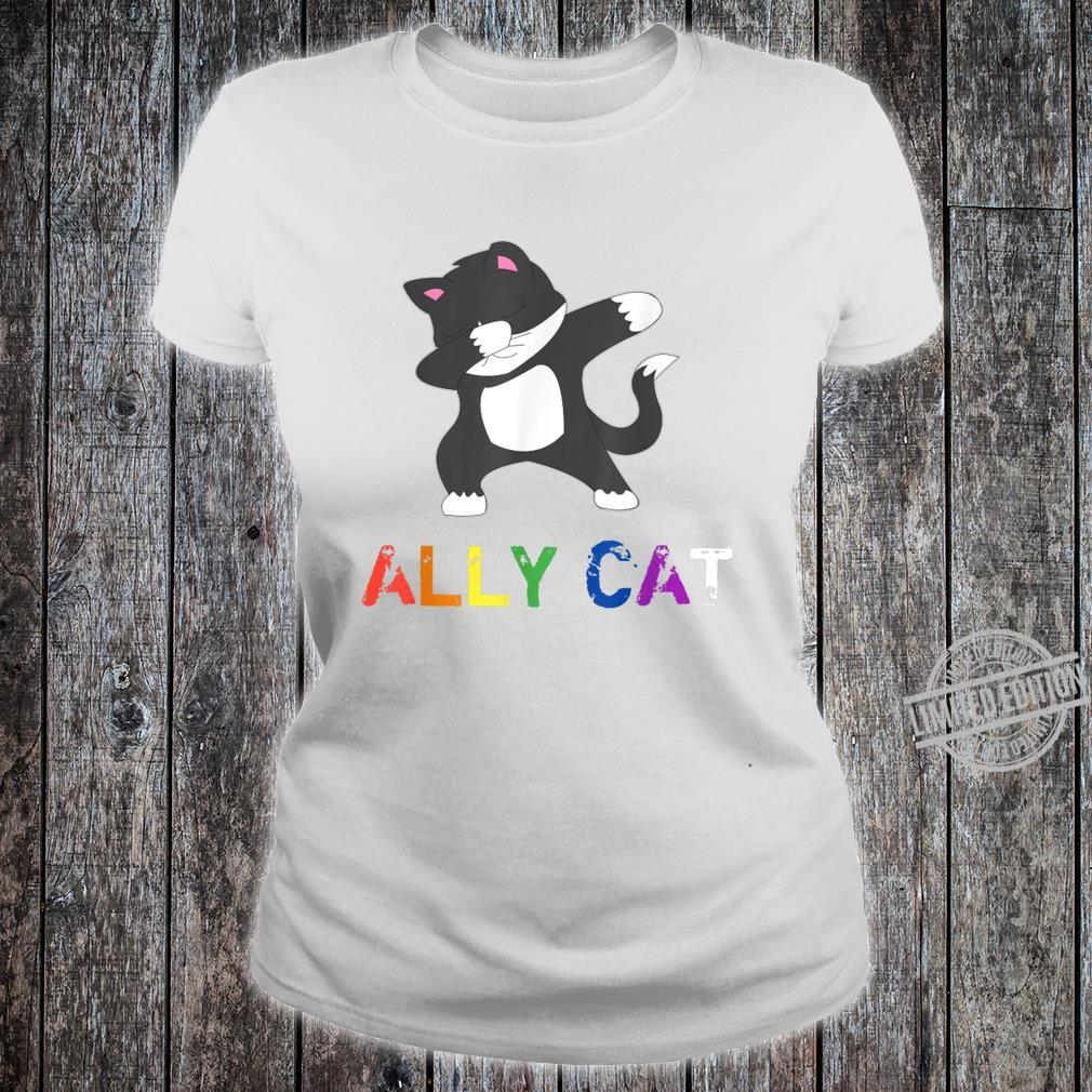 Dabbing Ally Cat Straight Pride LBGTQ Kiitty Gay Shirt ladies tee