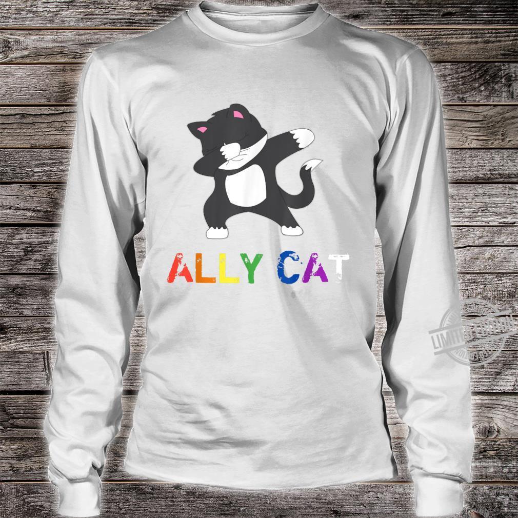 Dabbing Ally Cat Straight Pride LBGTQ Kiitty Gay Shirt long sleeved