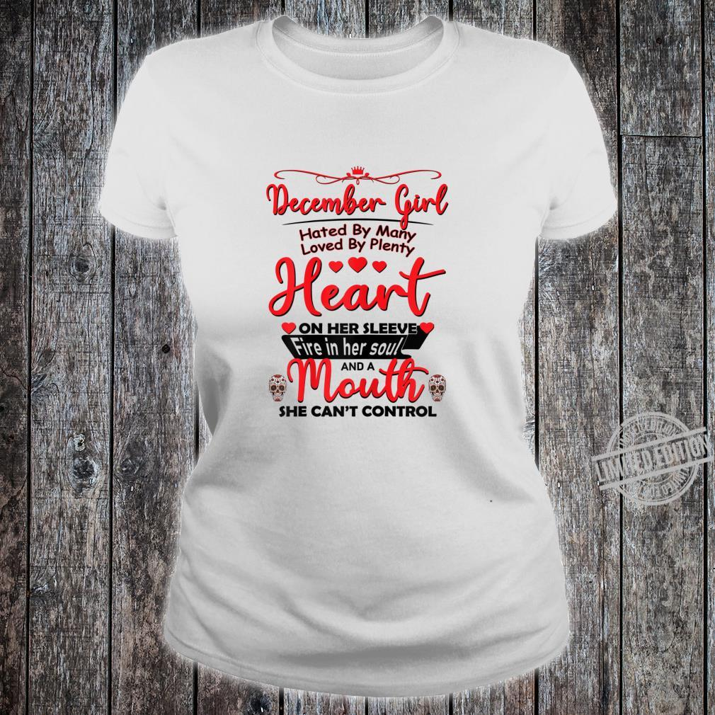 December girl hated by many birthday for skull Shirt ladies tee