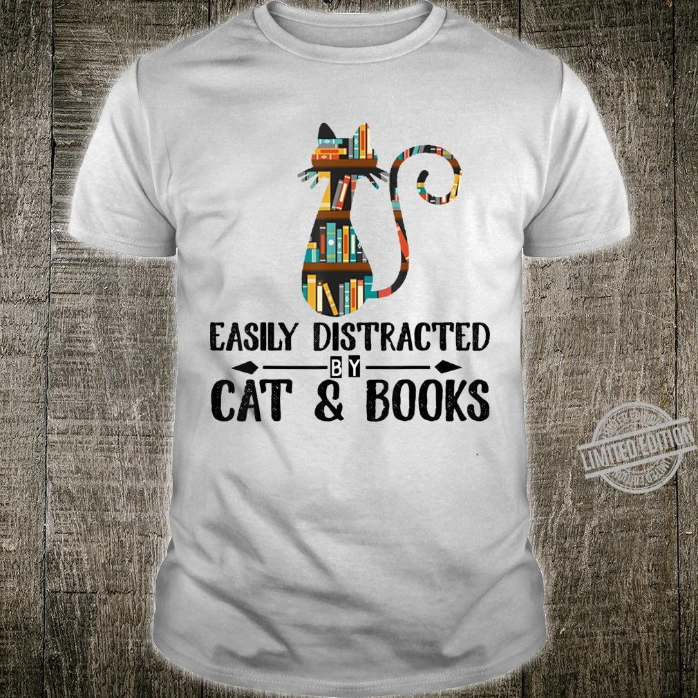 Easily Distracted by Cat & Books Animal Shirt
