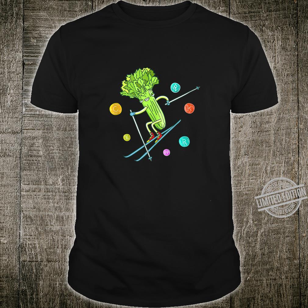Funny Downhill Skiing Celery Vegan Design Shirt