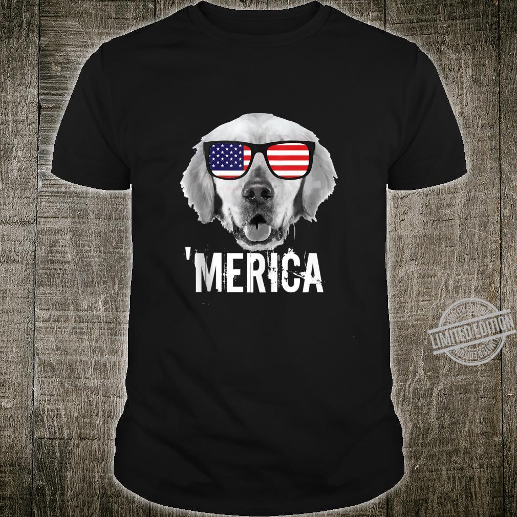 Patriotic Dog Wearing American Flag Glasses 4th July Merica Shirt